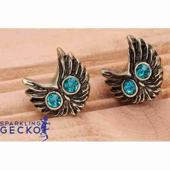 Blue Eye Owl Earrings