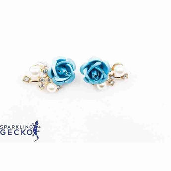 Blue Rose Simulated Pearl and Diamoneda Earrings