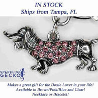Dachshund Bracelet and Necklace Set - Pink Stones
