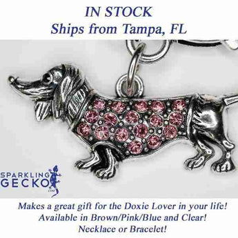 Dachshund Bracelet and Necklace Set - Pink Stones | Sparkling Gecko-Apparel & Accessories > Jewelry > Jewelry Sets-Sparkling Gecko
