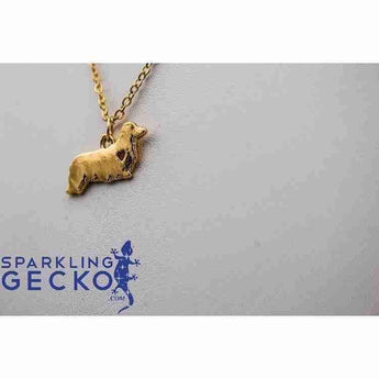 Dachshund Long Hair Heart Necklace - Gold