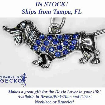 Dachshund Necklace - Blue Stones