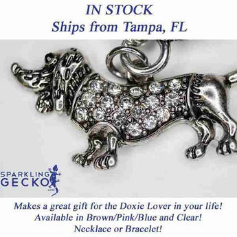 Dachshund Necklace - Clear Stones | Sparkling Gecko-Apparel & Accessories > Jewelry > Necklaces-Sparkling Gecko