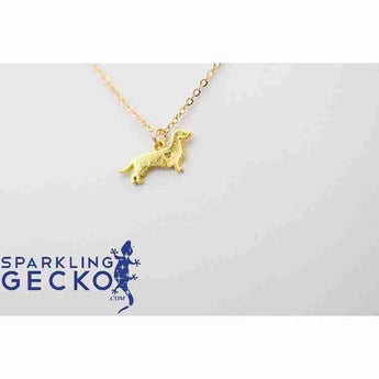 Dachshund Smooth Hair Heart Necklace - Gold