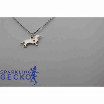 Dachshund Smooth Hair Heart Necklace - Silver | Sparkling Gecko-Apparel & Accessories > Jewelry > Necklaces-Sparkling Gecko