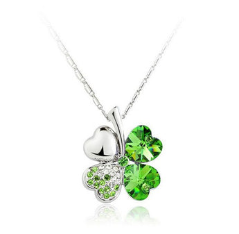 Green Crystal and Diamoneda 4 Leaf Clover Necklace | Closeout Pricing!