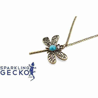 Dragon Fly - Bronze and Turquoise Necklace | Sparkling Gecko-Apparel & Accessories > Jewelry > Necklaces-Sparkling Gecko