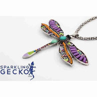 Dragon Fly - Colorful Silver Toned Necklace