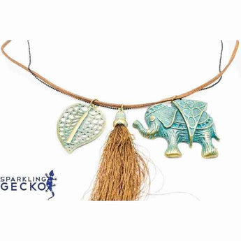 Elephant, Leaf and Tassle on Leather Necklace | Sparkling Gecko-Apparel & Accessories > Jewelry > Necklaces-Sparkling Gecko