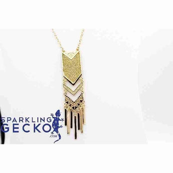 Fashion Tassel Pendant- Gold on 32 inch Chain | Sparkling Gecko-Apparel & Accessories > Jewelry > Necklaces-Sparkling Gecko