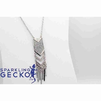 Fashion Tassel Pendant- Silver on 32 inch Chain | Sparkling Gecko-Apparel & Accessories > Jewelry > Necklaces-Sparkling Gecko