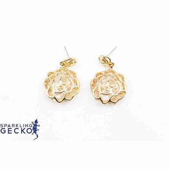 Gold Colored Rose Motif Cage enclosing Diamoneda Earrings | Sparkling Gecko-Apparel & Accessories > Jewelry > Earrings-Sparkling Gecko