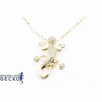 Gold Tone Sparkling Gecko Necklace | Sparkling Gecko | Sparkling Gecko-Apparel & Accessories > Jewelry > Necklaces-Sparkling Gecko