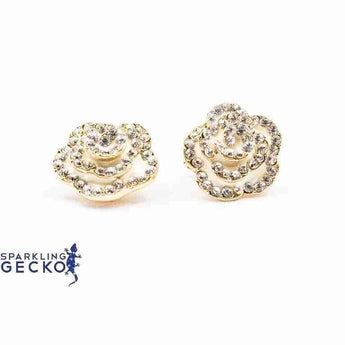 Ivory Enamel and Diamoneda Rose Earrings