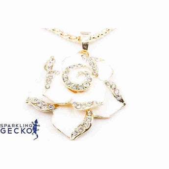 Ivory Rose Enamel and Diamoneda Pendant Necklace | Sparkling Gecko-Apparel & Accessories > Jewelry > Necklaces-Sparkling Gecko