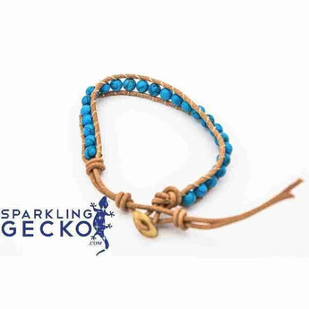 Leather and Turquoise Bracelet | Sparkling Gecko-Apparel & Accessories > Jewelry > Bracelets-Sparkling Gecko