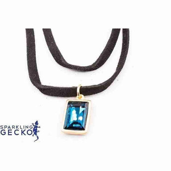 Multi Layer Leather Cord with Blue Crystal Vintage Choker Necklace