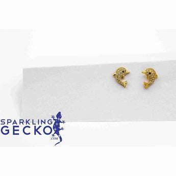 Porpoise Gold Post Earrings-Apparel & Accessories > Jewelry > Earrings-Sparkling Gecko