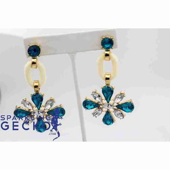 Retro Large Blue and White Daisy Dangle Earrings | Sparkling Gecko-Apparel & Accessories > Jewelry > Earrings-Sparkling Gecko