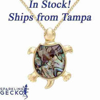 Sea Turtle Paua Shell Necklace | Sparkling Gecko-Apparel & Accessories > Jewelry > Necklaces-Sparkling Gecko