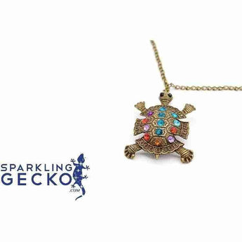 Turtle - Bronze and Colorful Stones Necklace | Sparkling Gecko-Apparel & Accessories > Jewelry > Necklaces-Sparkling Gecko