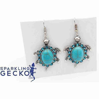 Turtle - Silver and Turquoise Earrings