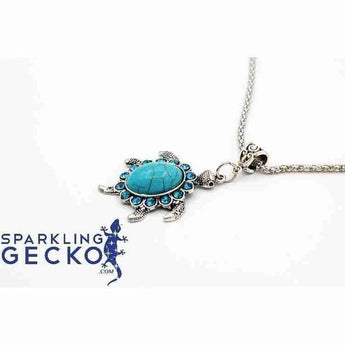 Turtle - Silver and Turquoise Necklace | Sparkling Gecko-Apparel & Accessories > Jewelry > Necklaces-Sparkling Gecko