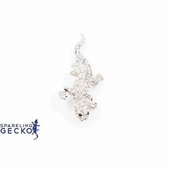 White Sparkling Gecko Pin | Sparkling Gecko-Apparel & Accessories > Jewelry > Brooches & Lapel Pins-Sparkling Gecko