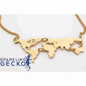 World Atlas Gold Necklace | Sparkling Gecko-Apparel & Accessories > Jewelry > Necklaces-Sparkling Gecko