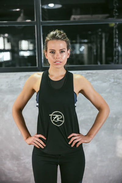 'Meant It' Singlet - Black with Beige Logo
