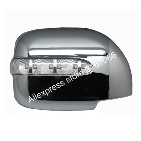 Mirror Cover w Turn Signal, Rear View fits Toyota Land Cruiser 100 1998 - 2007 Chrome Left + Right