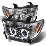 Headlights SET for TOYOTA TUNDRA / SEQUOIA 2007 2008 2009 2010 2011 2012 2013 2014 2015 2016 2017 Headlamps CHROME Tuning Led