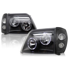 Headlights Set fits Toyota Land Cruiser PRADO 90 1996 1997 1998 1999 2000 2001 Headlamps Left and Right Sides BLACK