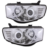 Headlights Pair for Mitsubishi L200 / TRITON 2005 2006 2007 2008 2009 2010 2011 2012 2013 2014 Chrome Black