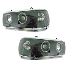 Headlights Set fits TOYOTA LAND CRUISER 80 1990 1991 1992 1993 1994 1995 1996 1997 1998 Headlamps PAIR BLACK Tuning