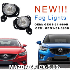 Fog Lights fits MAZDA 6 / CX-5 2012 2013 2014 2015 2016 Clear Driving Lamps Pair Right + Left - Inout Parts