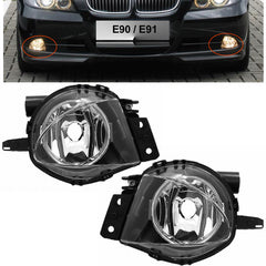 Fog Lights - Clear Driving Lamps fits BMW E90 2005 2006 2007 2008  Pair Quality - Inout Parts
