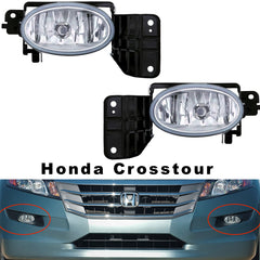 Fog Lights - Clear Driving Lamps fits HONDA CROSSTOUR 2010 2011 2012 Pair Quality - Inout Parts