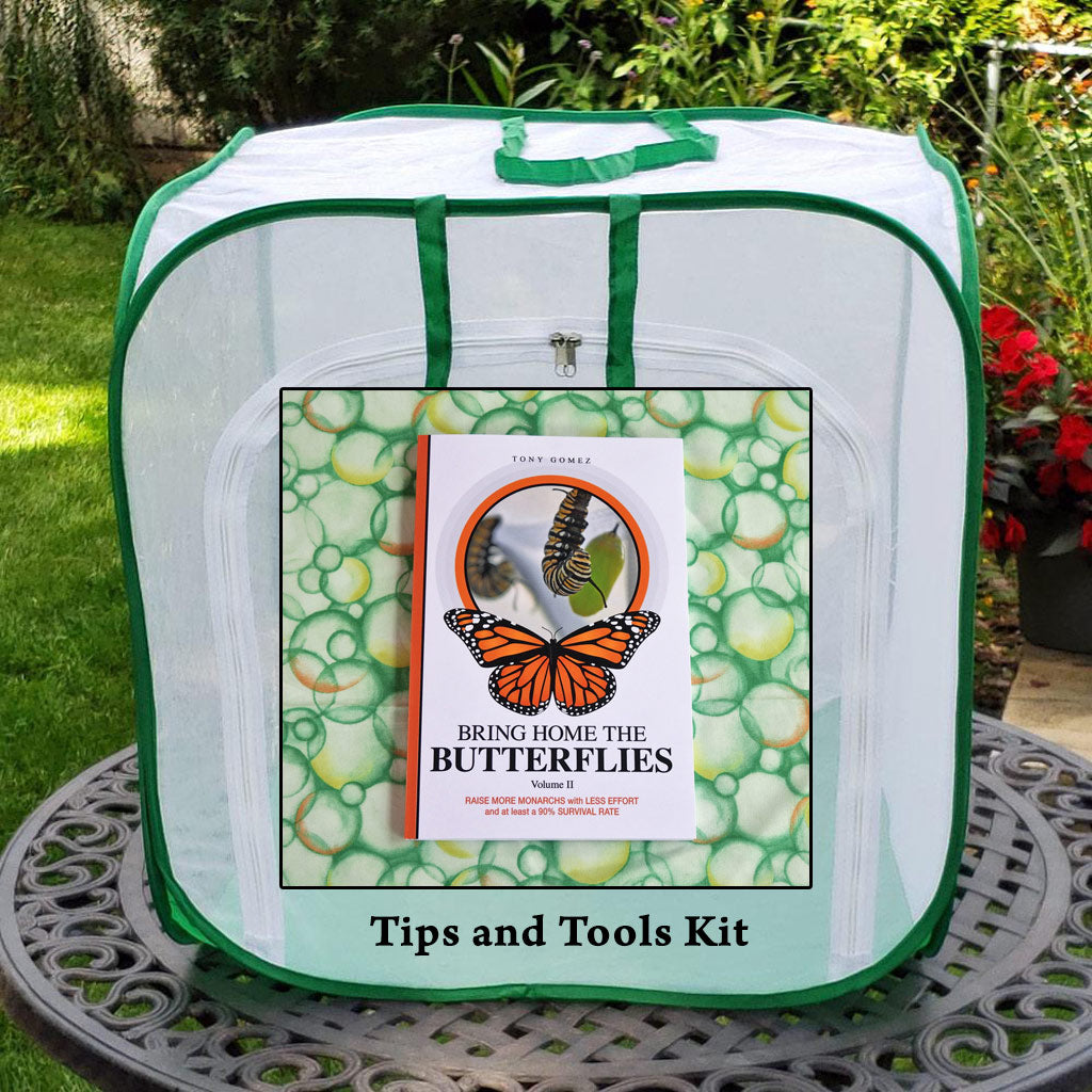 Tips and Tools Monarch Butterfly Kit- the ultimate raising kit when you purchase a how to raise monarchs book with a caterpillar cage and other raising butterflies accessories.