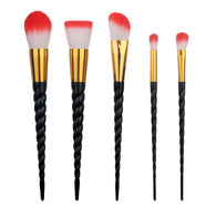 Black & Red Unicorn Makeup Brush Set