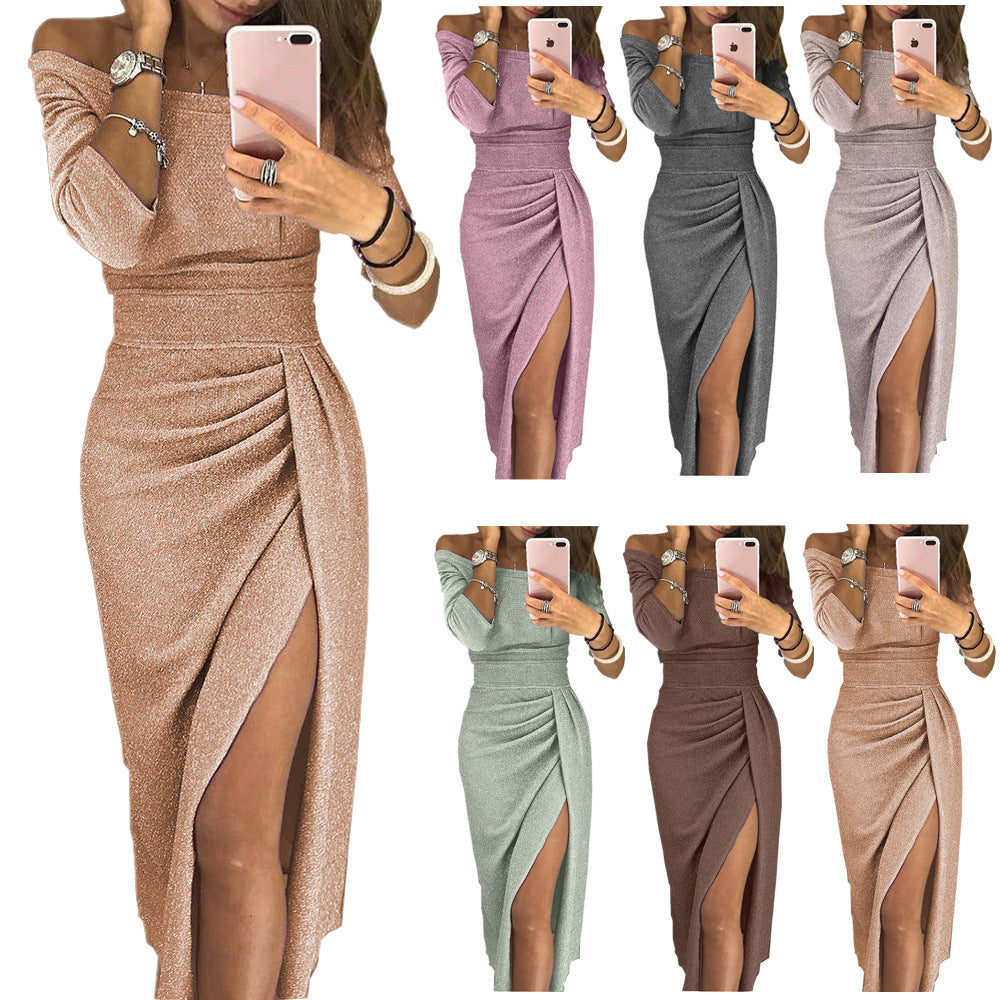 Ladies wrap their hips, open their slacks, tie dresses, shiny dresses, dress dresses, dinner dresses.P4031Buy mate