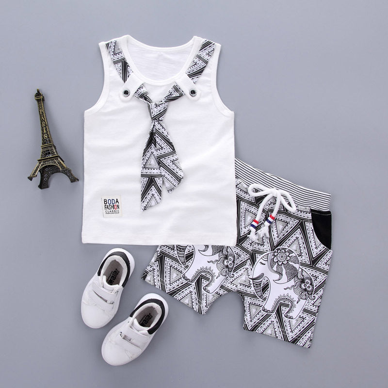 Boy's cotton vest suit Korean version sleeveless children's wear two pieces p4096Buy mate