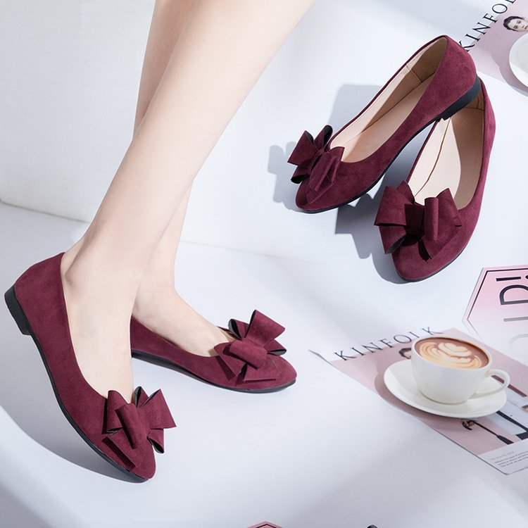 Flat shoes sweet bow suede Joker flat shoes  p4126