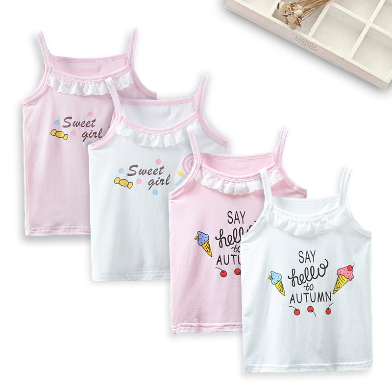 Girls' suspenders summer new children's lace suspenders vest children's vest baby cartoon base shirt P2924Buy mate