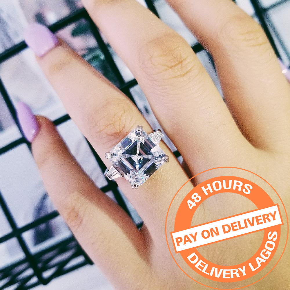 925 sterling silver asscher Cut trapezoid baguette cut Rings for women engagement Luxury rings jewelry chrismas gif R4337SBuy mate