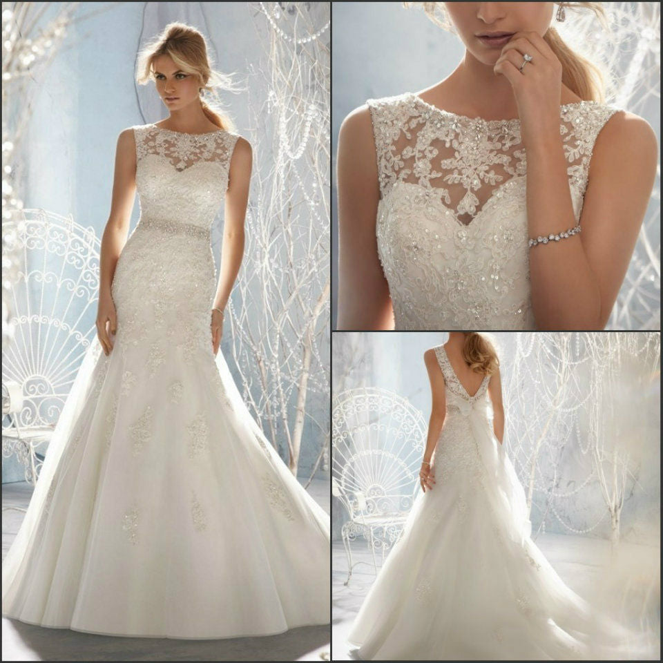 New wedding dress tail-tail European and American foreign trade chest-wiping tail-tail fish tail lace P3372