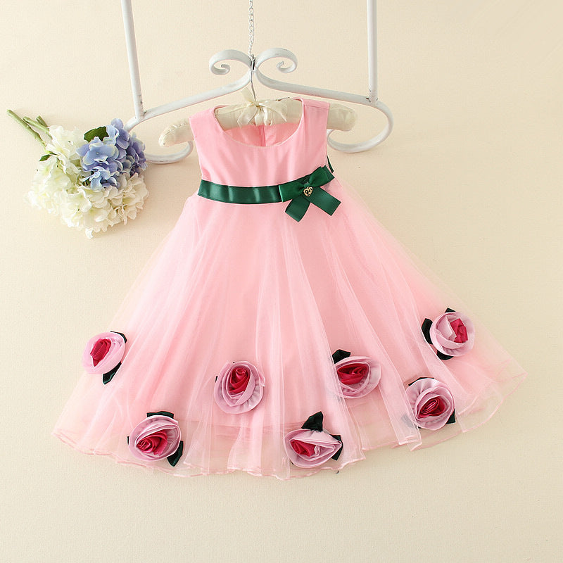 Korean version of girls summer cool flower dress p0021