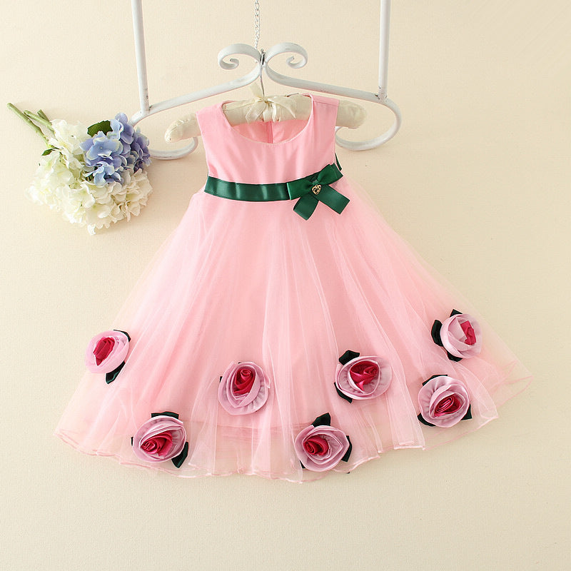 Korean version of girls summer cool flower dress p0021Pink / 140cmBuy mate