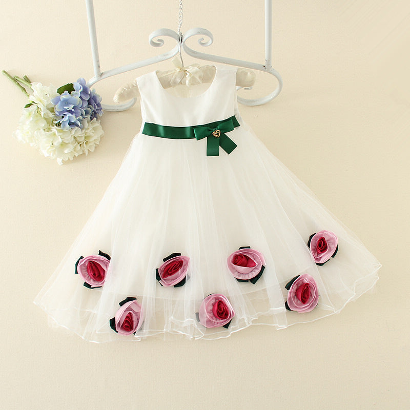 Korean version of girls summer cool flower dress p0021White / 140cmBuy mate