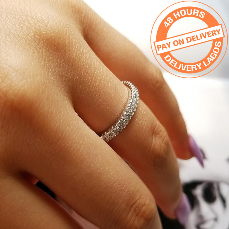 925 Sterling Silver wedding band eternity Ring Engagement cubic zirconia finger for fashion Women R4414S